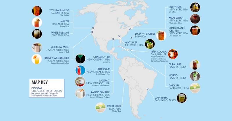 Carte des lieux de naissance des cocktails classiques